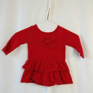 Gymboree Red Knit Tiered Ruffle Bow Top 12-18 M